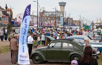 Classic cars lined up to be judged on Great Yarmouth seafront