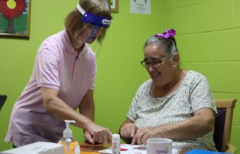 Centre 81 skills and activities member Linda Pike (right) is back doing craft work with facilitator Sharon Lamb.